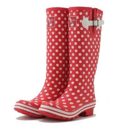 Bottes de pluie Rouge à Petits Pois blanc