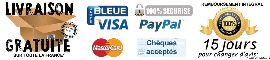 Livraison gratuite, Paiement sécurisé par CB, Visa, Mastercard, Verified By Visa, SecureCode, Délai de rétractation de 15 Jours, avec remboursement intégral